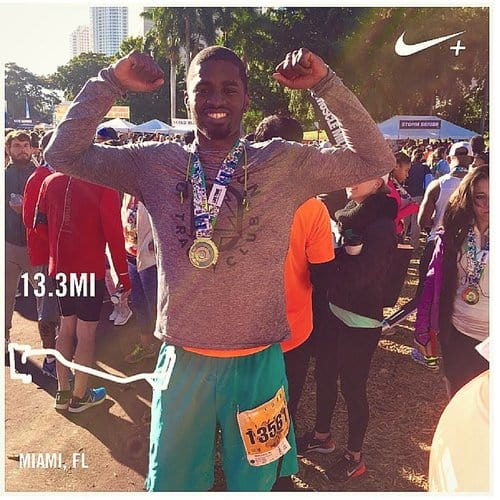 Tunde running the miami half-marathon